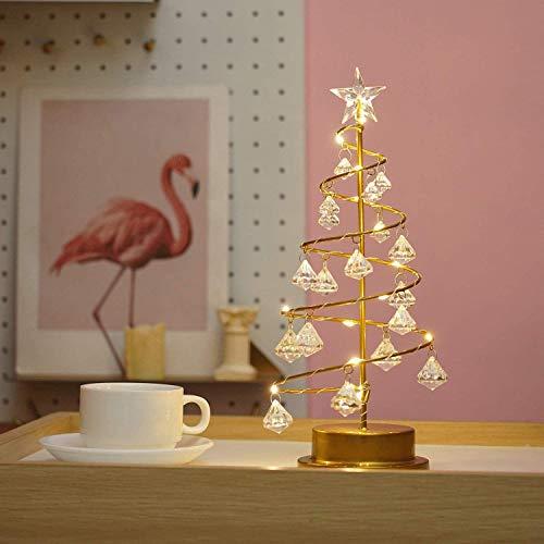 "Desk Spiral Crystal Christmas Tree Battery-Powered Mini Christmas Tree Warm White Light Bedroom Christmas Decoration 13"" Mini Fairy Lamp Electroplating Iron Trunk"