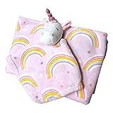 SONA G DESIGNS Plush Animal Security Lovey with Blanket Gift Set for Newborn Infant - Custom Personalized Available (Rainbow Unicorn Set)