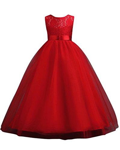 MISSMAO Fiore Ragazze Pizzo Abito San Maniche Principessa Compleanno Festa Matrimonio Sera Vestito Viola 7-8 Anni Rosso 140CM