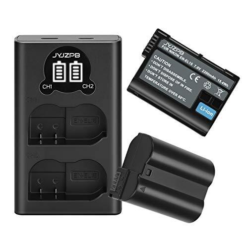 JYJZPB EN-EL15 EL15a EL15b Replacement Batteries (2 Pack 2200mAh) and LCD Dual Battery Charger for Nikon Camera D750, Z6, Z7,D500, D600, D610, D800, D810, D810a, D850, D7100