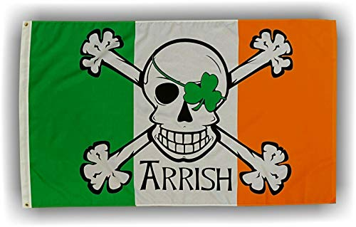 Flappin' Flags Arrish 3x5 ft. St Patrick's Day Classic Irish Pirate Flag
