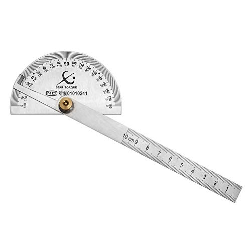 QWORK Winkelmesser Edelstahl, 0-180 ° Rundkopfwinkel Finder Lineal, mit 100mm Lineal zum Malen Zeichnen Messen
