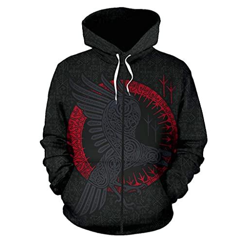 Feinny - Jersey con capucha de secado rápido para otoño, vintage, nórdico, diseño de Odin Raven 3D vikingo con tatuaje impreso Païen étnico, para llevar con capucha, chaqueta sudadera, cuervo para hombre, con bolsillo, cremallera, M