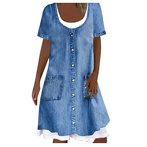Hirolan Damen Kleider Elegant Lang LäSsig Bedrucktes Temperament-Transferkleid FüR Damen Kurzarmkleid Limit Denim Boho Kleider Festliches Outfit Damen