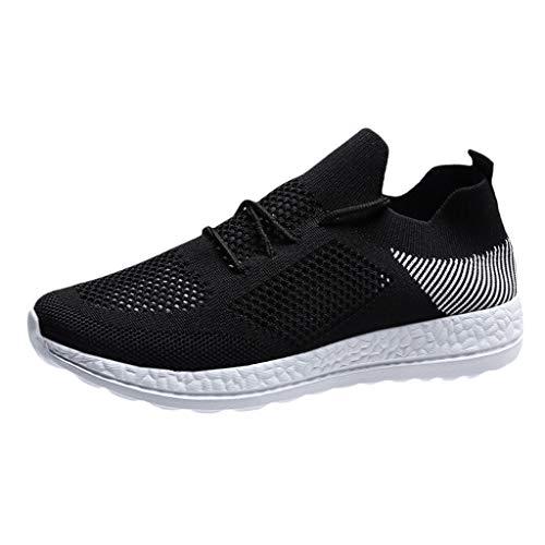 Zapatillas de Deportivos de Running para Mujer Casual Malla Gimnasia Ligero Sneakers Negro Blanco 37-43EU 0206