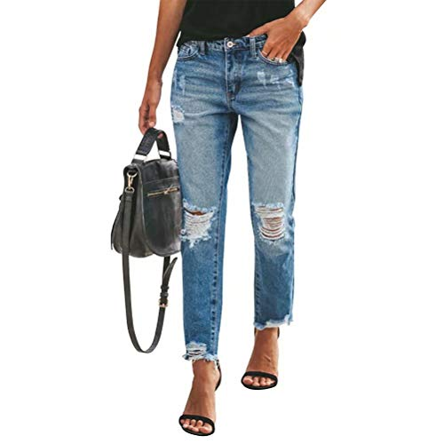 Women's High Waist Relaxed Fit Ripped Distressed Jeans Straight-Leg Mom Denim Pants