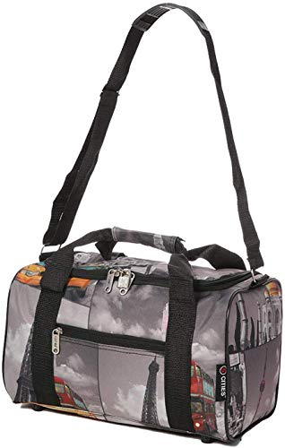 5 Cities 40x20x25 New and Improved 2021 Ryanair Maximum Sized Under Seat Cabin Holdall Travel Flight Bag – Take The Max on Board! (Black Polka + Cities)