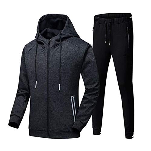 Mens Tracksuits Tritsuits Jogging Botting Gym Sweat Suits Sport Jacket Pantalones, Ropa Deportiva para Hombre Sports Casual Sports Traje de Jogging Set de 2 Piezas (Color : Black/Black, Size : XL)
