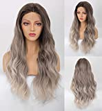 VEBONNY Peluca rubia de ceniza marrón degradado, pelo sintético suelto rizado encaje frente pelucas para mujeres, sin pegamento 613 peluca rubia de 22 pulgadas peluca de pelo largo natural VEBONNY-082
