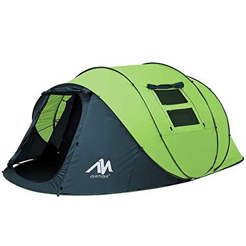 Zelt 4-6 Personen Wasserdicht, Pop up Zelte Familienzelt [5 Fenster] Riesiges Camping Zelt Doppelwandig Wurfzelt Shelter 6-Mann Zelt mit Vorraum für Outdoor Picknick Wandern Reisen Strand (Hellgrün)