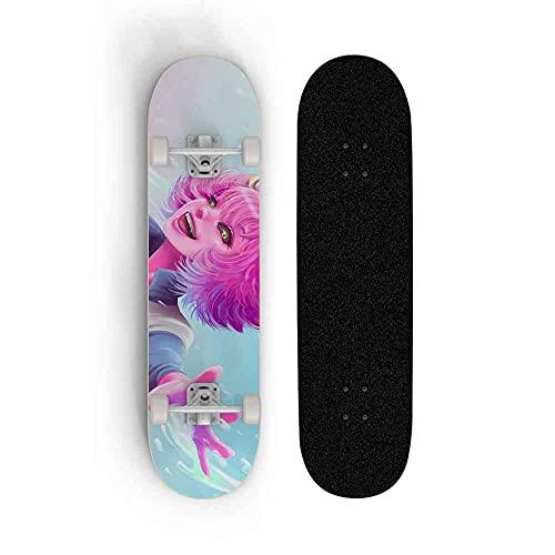 Kssmice My Hero Academia Ashido Mina Minea Skateboard, monopatín de Cuatro Ruedas Skateboard, Tilt Skateboard Principiante Maple Double, Patineta Profesional, Monopatín Completo de 31 Pulgadas