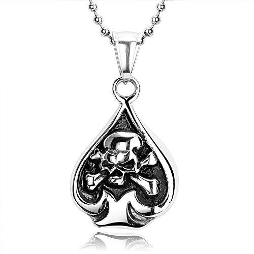 Amody Acero Inoxidable Plata Negro Pirata cráneo corazón as de Espadas Colgante Collar para Hombre, tamaño: 3X 2,1 CM