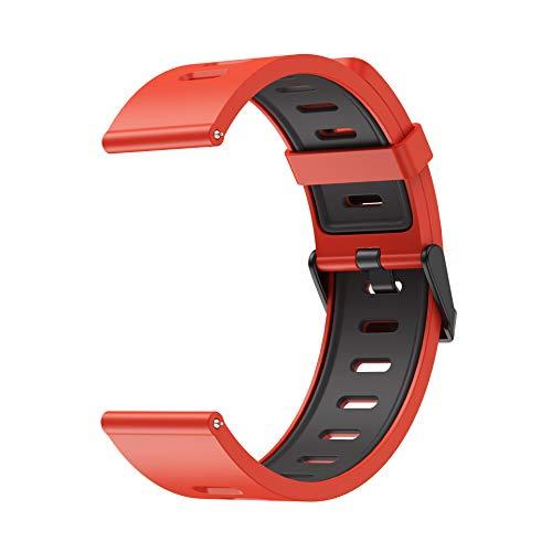 22mm Xiaomi Huami Correa, Silicona Doble Color Deporte Pulsera de Repuesto, Compatible Samsung Gear S3/Galaxy Watch 46mm/Huawei Watch GT 46mm/Huawei Watch GT 2 46mm/GTR 47mm Banda (Rojo/Negro)