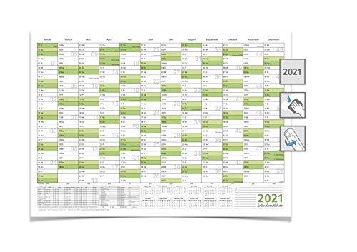 KALENDER/JAHRESPLANER - 2021 - DIN A1 84,0 X 59,4 CM 250G grün abwischbar