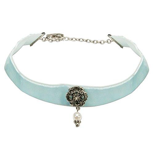 Alpenflüstern Trachten-Samt-Kropfband Frida mit Ornament und Perle Trachtenkette enganliegend, Kropfkette elastisch, Damen-Trachtenschmuck, Samtkropfband breit hell-blau DHK168