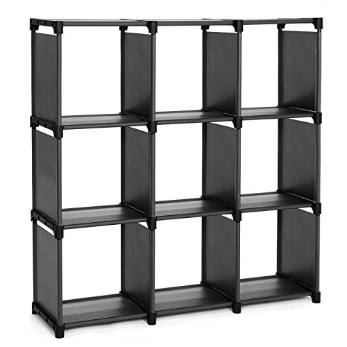 SONGMICS 9-Cube DIY Storage Shelves, Open Bookshelf Closet Organizer Rack Cabinet, Black ULSN45BK
