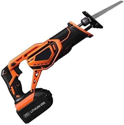 RENXR 20V Schnurlos Säbelsäge Mit Schnell-Ladegerät, Werkzeugfreie Klinge Ändern Und Zwei Sägeblätter Werkzeugtasche Zum Holzschnitt