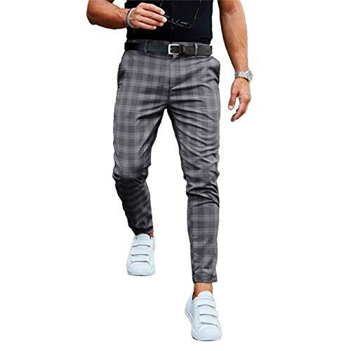 pantaloni uomo quadri scozzesi Pantaloni chino da uomo elasticizzati slim fit pantaloni scozzesi classici a quadri jeans cotone spandex fondo grigio scuro M