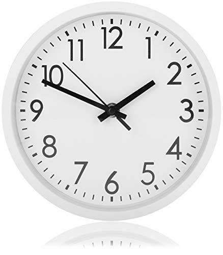 com-four® Reloj de Pared Analógico con Esfera Grande - Hermoso Reloj para Cocina, Sala de Estar, Dormitorio y Oficina - Ø 20 cm (1 Pieza - Blanco)