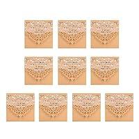 Colcolo 封筒の印刷カードが付いている10セットの結婚式の贅沢な空の招待カード - ベージュ