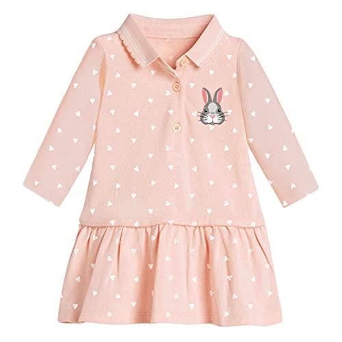 UnionKK Toddler Girl Casual Dress Short Sleeve Dresses Summer Crew Neck Clothing 2-7 T (Orange-2, 6T)