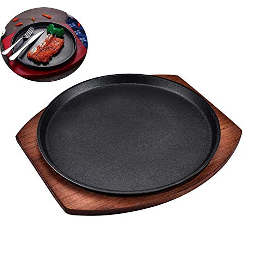 Cratone Steak Plates Round with Wooden Serving Board, Pizza Pan Cast Iron Round, Hot Serving Dish Teppanyaki Pot Round Sizzler