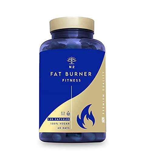 Quemagrasas Natural Termogénico Adelgazante Fat Burner Supresor de Apetito Ingredientes 100% Naturales 120 Cápsulas Vegetal. quema grasas pre entreno. VEGANO Fabricado en CE. N2 Natural Nutrition