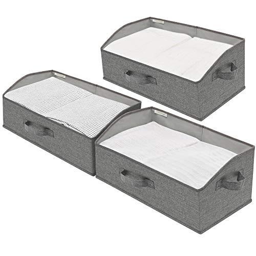 StorageWorks Closet Bins, Trapezoid Storage Boxes, Linen-Like Closet Organizer, Mixing of Gray &...