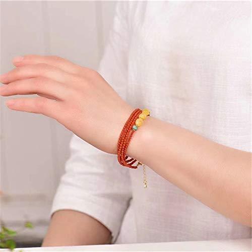 LXMYLI Charm Bracelet , 3mm South Red Agate Piedra Natural Pulsera De Cuentas De Oración Collar De Brazalete De Múltiples Capas De Ámbar Hecho A Mano para Mujeres (length18-20cm)