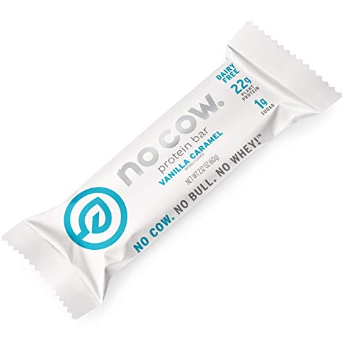 No Cow Protein Bars, Vanilla Caramel, 22g Plant Based Vegan Protein, Keto Friendly, Low Sugar, Low Carb, Low Calorie, Gluten Free, Naturally Sweetened, Dairy Free, Non GMO, Kosher, 12 Pack