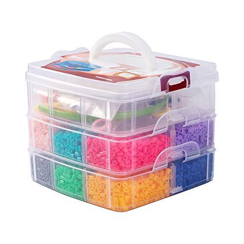 PandaHall Lote de 5000 Abalorios 12 Colores aleatorios Melty Beads Repuestos con Accesorios para incluidos Accesorios de Banda del Pelo Pinzas de Pelo de cocodrilo Anillo de plastico hama Beads