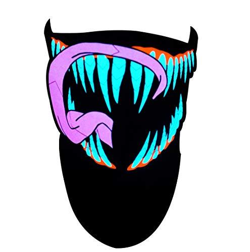 SATUMIKO LED Mask Sound Reactive Light Up Mask Halloween Scary Masks for Rave,EDM,EDC,Burning Man,Party and Festivals (Pink Venom)