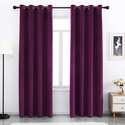 SPXTEX Purple Velvet Curtains 84 inches Long Soft Velvet Curtains Grommet Velvet Thermal Insulated Curtains Window Treatment for Bedroom Light Filtering Velvet Curtains Set of 2 Panels