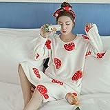 Wenhua Pajamas for Girls, Falda de Pijama de Invierno Acolchada con Estampado de Dibujos Animados, 20_L, 104% Seda Pijama para Mujer