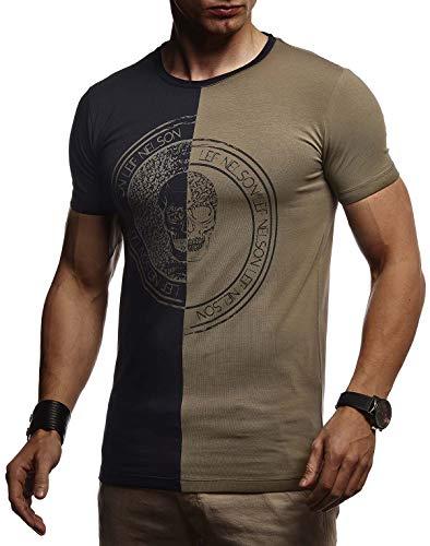 Leif Nelson LN4395 T-shirt d'été à col rond en coton pour homme Coupe slim fit en coton pour homme Tête de mort T-shirt à manches courtes - - Small