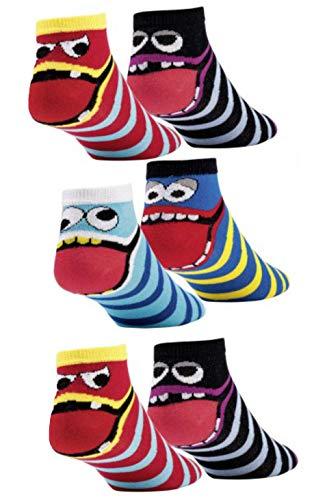 Laake 6 Paar Kinder Sneaker Socken Jungen und Mädchen handgekettelt aus weicher Baumwolle (27-30, Coole Sneaker)