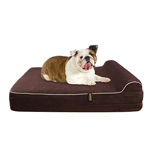 KOPEKS Cama Grande para Perros Mascotas Grandes con Memoria Viscoelástica Ortopédico 91 x 71 x 15 cm más la Almohada - L - Marrón ⭐
