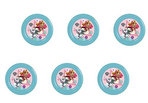 ALMACENESADAN Patrulla Canina, 0288, Pack 6 Platos de plástico Reutilizables para Fiestas y cumpleaños (Skye Platos)