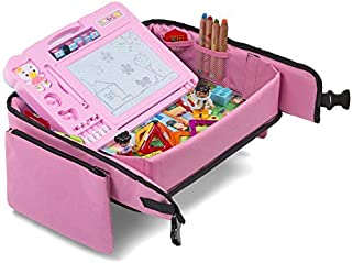Toddler Travel Tray (Pink) + Bonus 2 in 1 Magnetic Drawing Board & Chalkboard |Car..