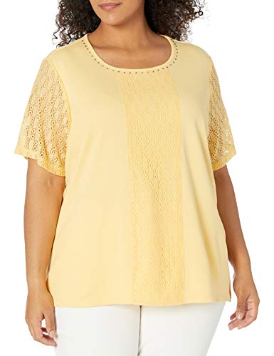 Alfred Dunner Women's Plus Size Jewel Neckline Soft Knit TOP with LACE Sleeves, Yellow, 3X