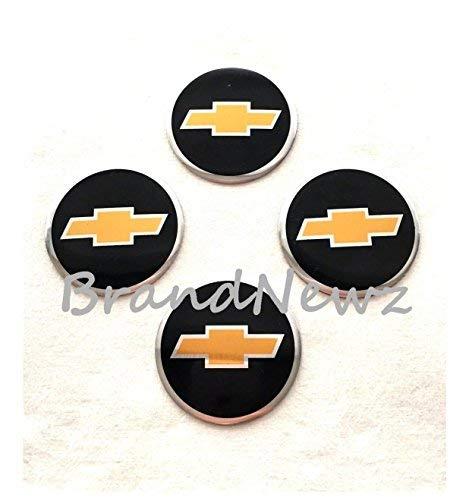 BLACK GOLD EMBLEM WHEEL HUB CENTER CAP STICKERS BADGE WHEEL TRIM 55 MM DOME SET OF 4 COMPATIABLE FOR ALL CHEVROLET MODELS