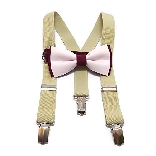 WHITE+GOLD bow tie and BEIGE elastic Y-back Suspenders Set for ring bearer boys men groomsmen wedding outfit men