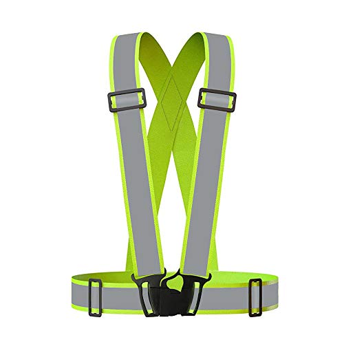 Grinigh Reflective Vest,Adjustable Elastic Lightweight & High Visibility Safety Vest for Running, Jogging, Walking, Cycling, Work Fits Over Outdoor Clothing Motorcycle Jacket Outdoor Gear