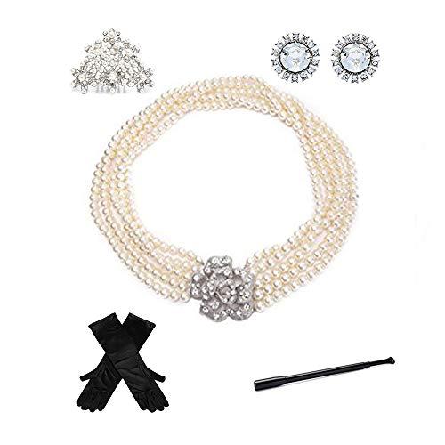 Utopiat audrey style 5 piezas accesorios de joyería de perlas set de disfraces para mujeres inspiradas en BAT