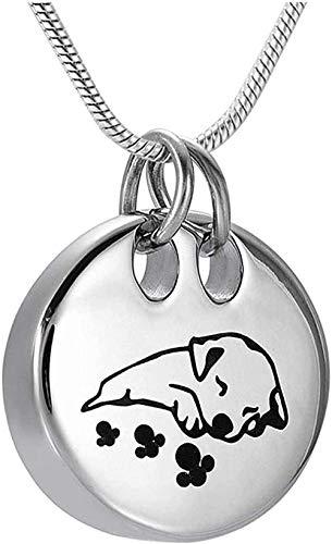 huangshuhua Joyas Dormir Perro Cenizas Colgante Medallón Recuerdo de Acero Inoxidable Collares de urna para Mascotas conmemorativas para Cenizas