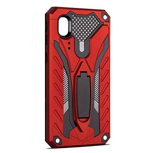 niter kompatibel mit Samsung Galaxy J1 Ace Hülle Ultra Dünn Slim Heavy Duty Cover Silikon Weiches TPU Bumper Harte Schale PC 2 in 1 Handyhülle Grip Ständer Schutzhülle (Rot)