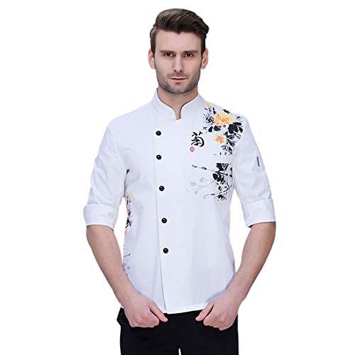Pinji Chaqueta Chef Unisex Camisa de Cocinero Manga Larga de Verano M # 3