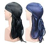 Silky Satin Durags for Men, 2 Pack Designer Satin Doo Rag Head Wraps Long Tail Beanies Waves Headwraps Do Rags Cap,...