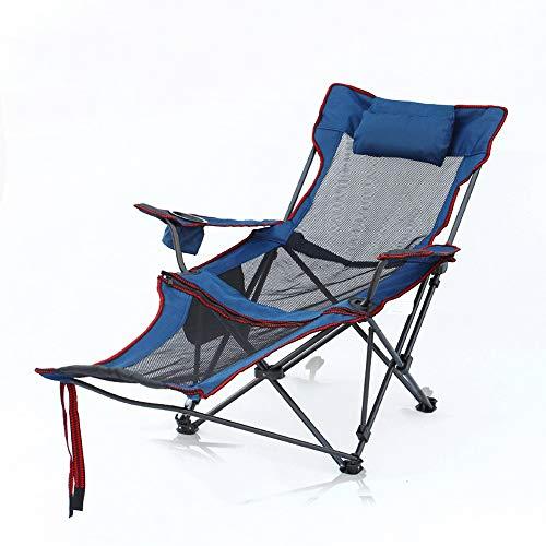 OaLt-t Klappstuhl Büro Liege Outdoor Angeln Freizeit Camping Stuhl Siesta Bett Stuhl Strandkorb Abnehmbare Fußstütze (Color : Blue)