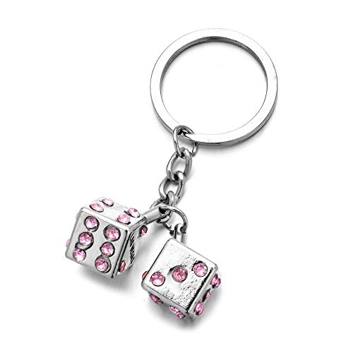 Las Vegas Key Ring Two Pink Rhinestone Dice Keychain for Women Bag Car Charm Silver Key Chain Key Pendant Gifts
